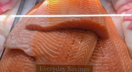 Farm-raised Atlantic salmon at Whole Foods Market