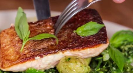 Jaimie's Crispy Skin Salmon with Pesto Vegetables